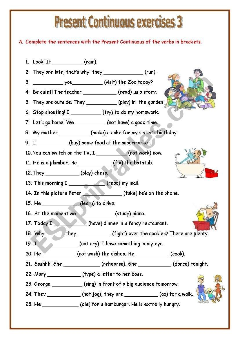 small resolution of 4 Worksheet Free Grammar Worksheets Fourth Grade 4 Verbs Present  Progressive Tense Present co...   Present continuous worksheet