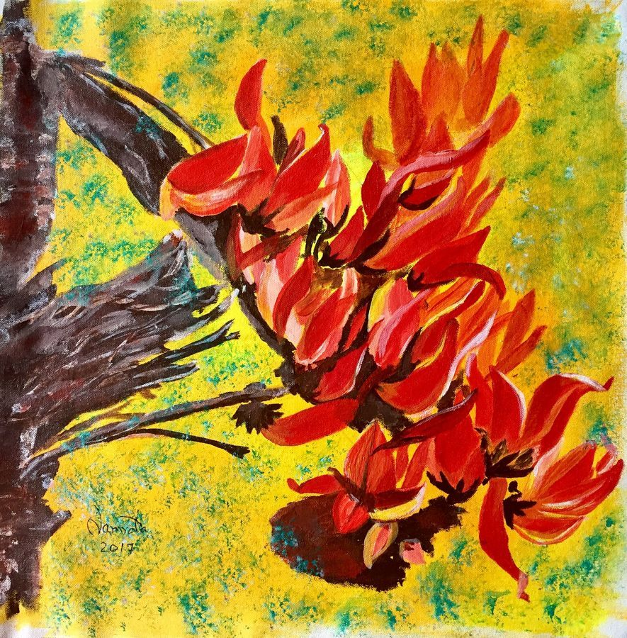 Palash in Bloom | Floral painting, Painting, Flower art Palash Flower Wallpaper