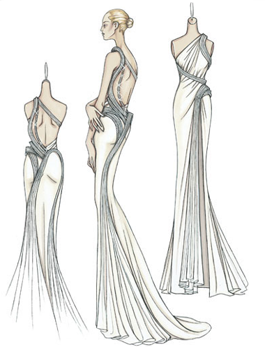 Atelier Versace Spring 2009:  Cream silk crepe de chine evening dress with open back  Pleated bands of organza twist around the body before opening out to form the train