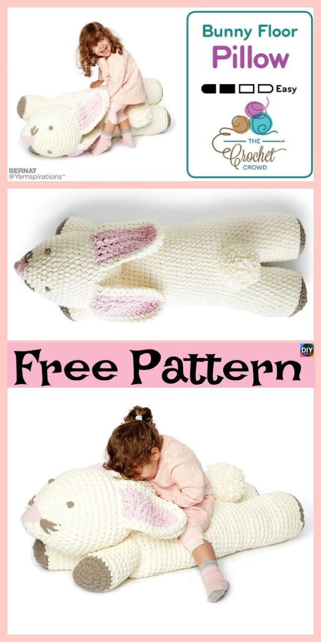 Cute Crochet Bunny Floor Pillow - Free Pattern | crochet projects ...