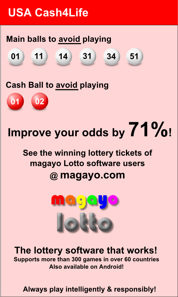 Improve your odds by 71% in winning USA Cash4Life