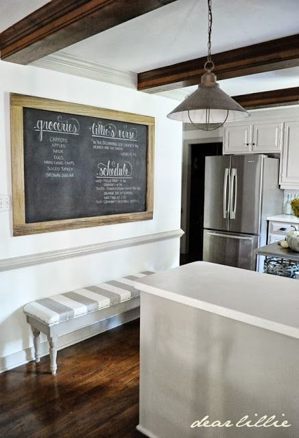 An Oversized Chalkboard and Bench In the Kitchen. (Dear Lillie ...