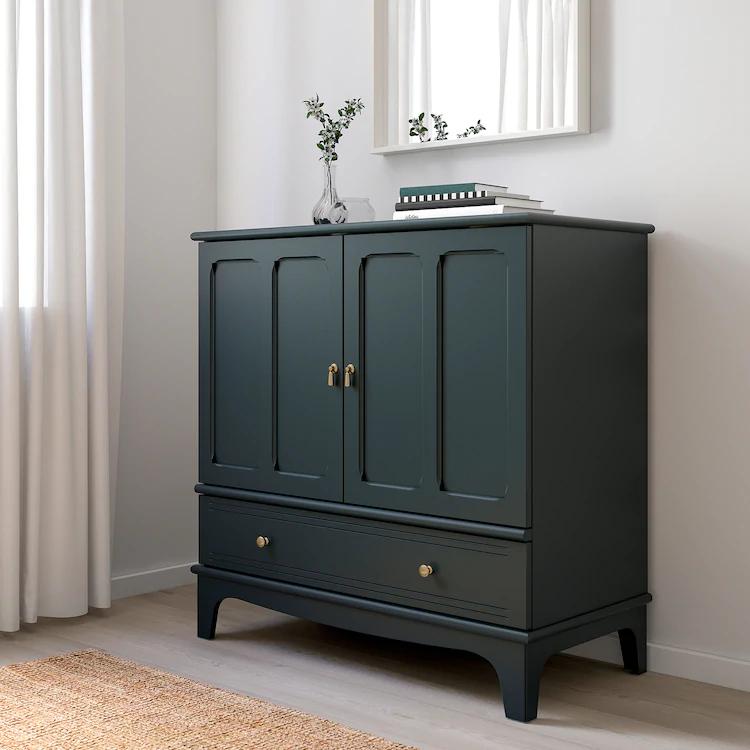 Lommarp Schrank Dunkel Blaugrun Ikea Deutschland In 2020 Blue Green Kitchen Ikea Blue Cabinets