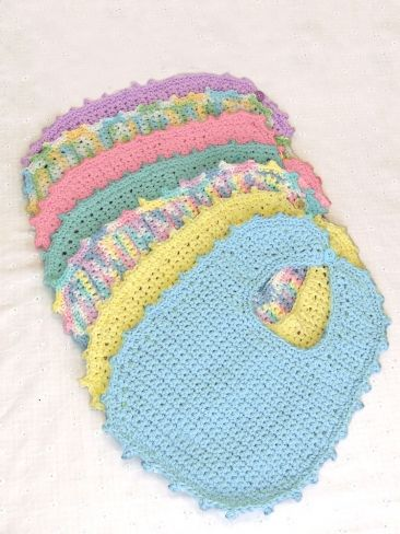 Knitting Patterns Baby Cotton Yarn : Handicrafter Cotton - Bibs & Booties (crochet) Yarn Free Knitting Pat...