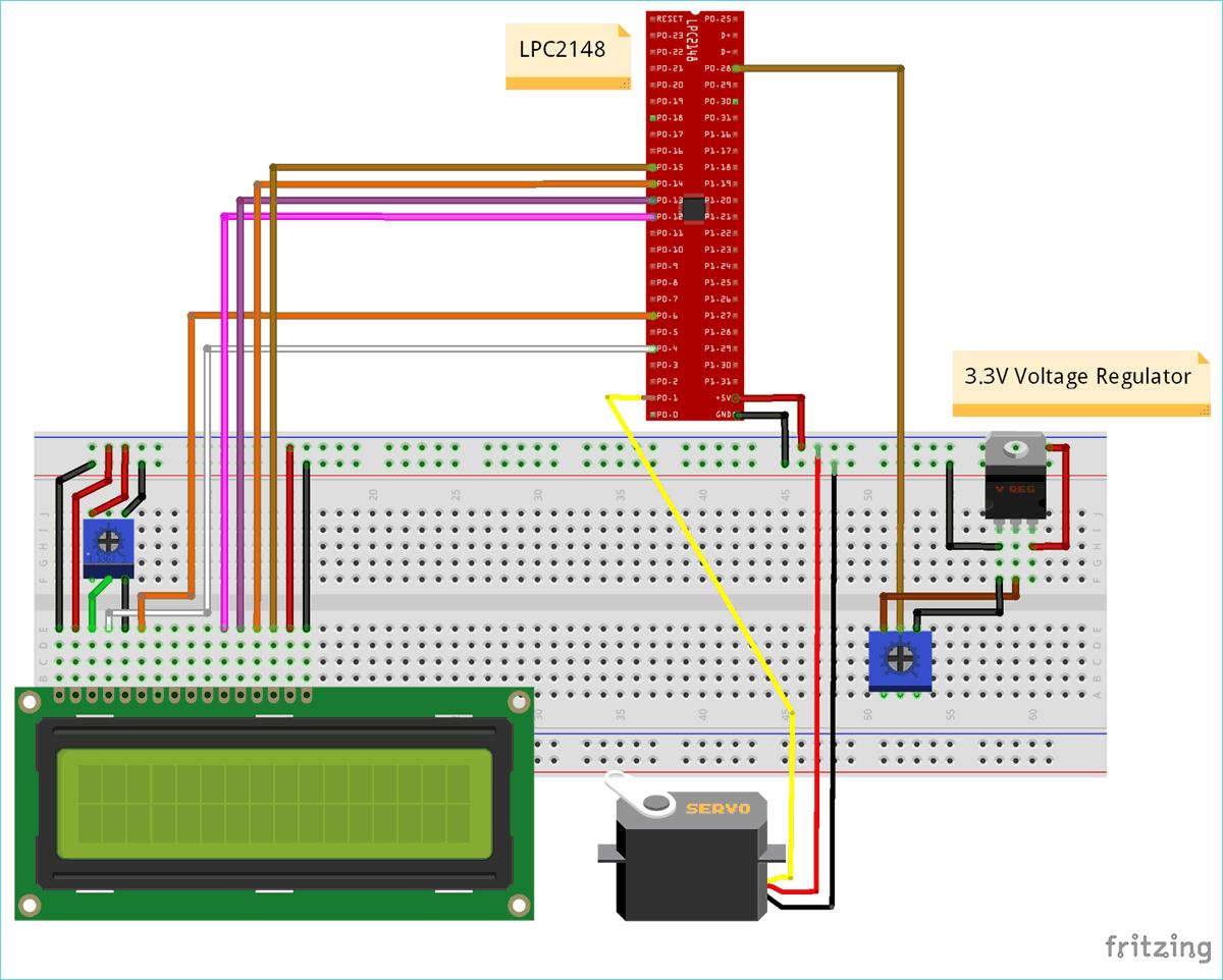 circuit diagram for interfacing servo motor with arm7 lpc2148 [ 1200 x 962 Pixel ]