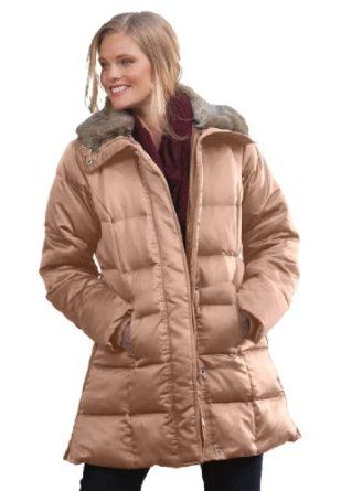 5ae4cf2415d Woman Within Plus Size Faux-fur trimmed satin smooth down jacket  34.99