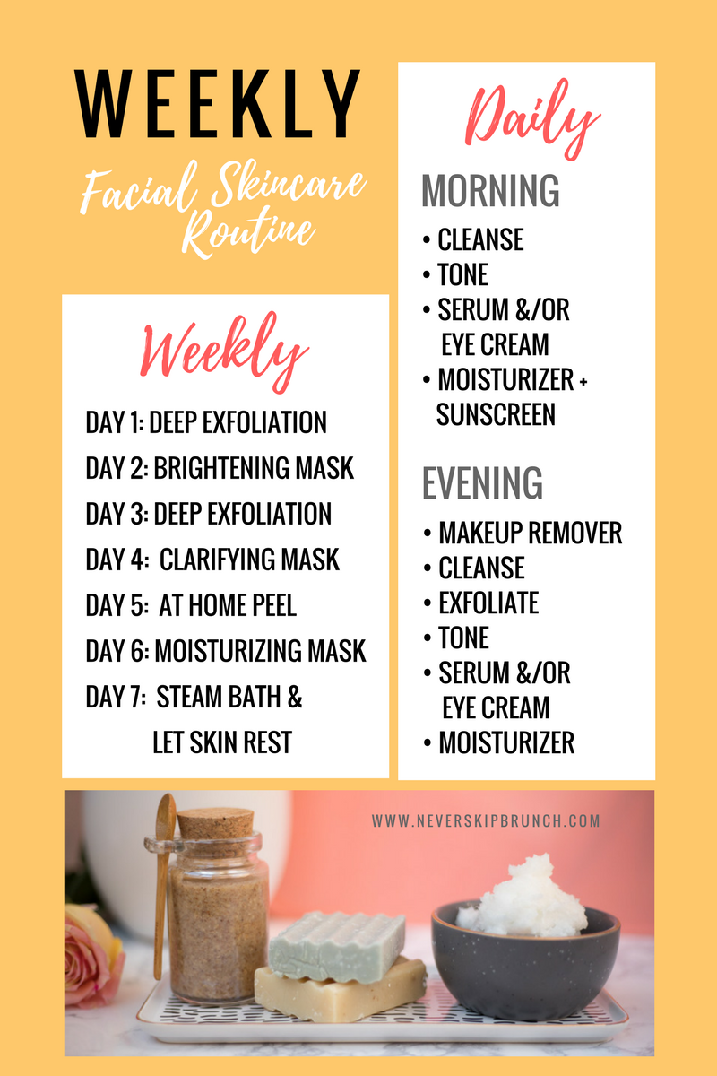 Weekly Skincare Routine Facial Routine Exfoliation Facial Brush Face Cleanser Diy Face Scrub Cleanser Diy Cleanser Facial Routines Diy Face Cleanser