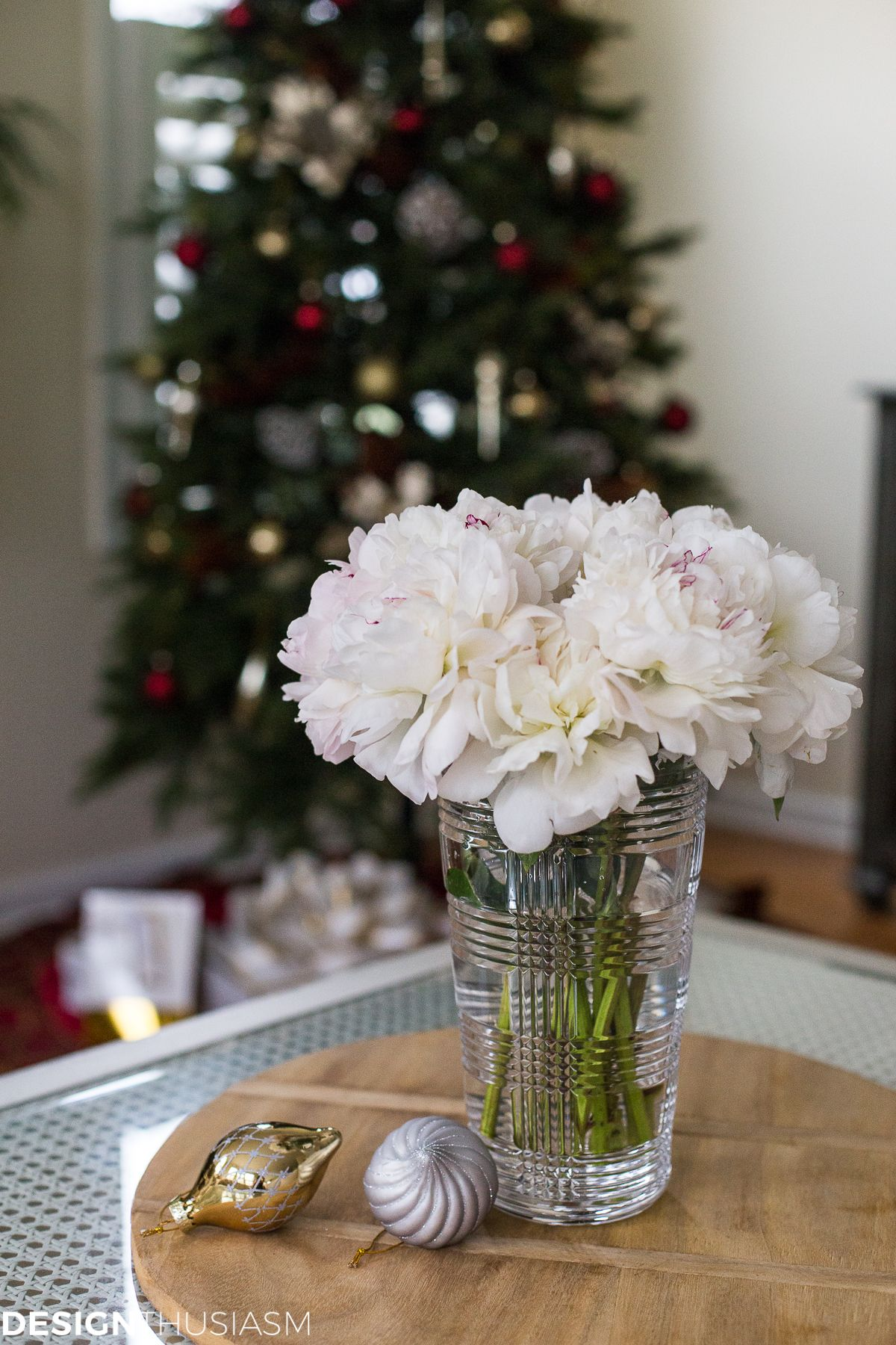 Adding Cheer To The Family Room With A Slim Christmas