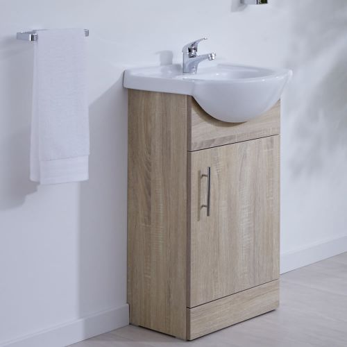 Milano Arch Oak 455mm Floor Standing Vanity Unit With Basin Vanity Units Bathroom Furniture Design Basin Vanity Unit Bathroom modern vanity units milano