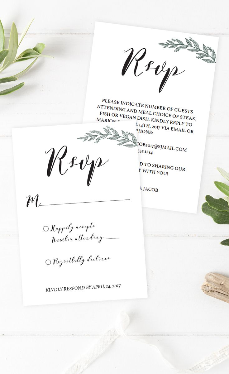 Beautiful greenery wedding invitation inserts. These DIY green ...