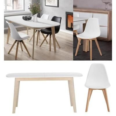 Ensemble Table A Manger Extensible Naiss De 6 A 8 Personnes Scandinave Pieds Bouleau Massif Table A Manger Extensible Chaises De Table A Manger Table A Manger