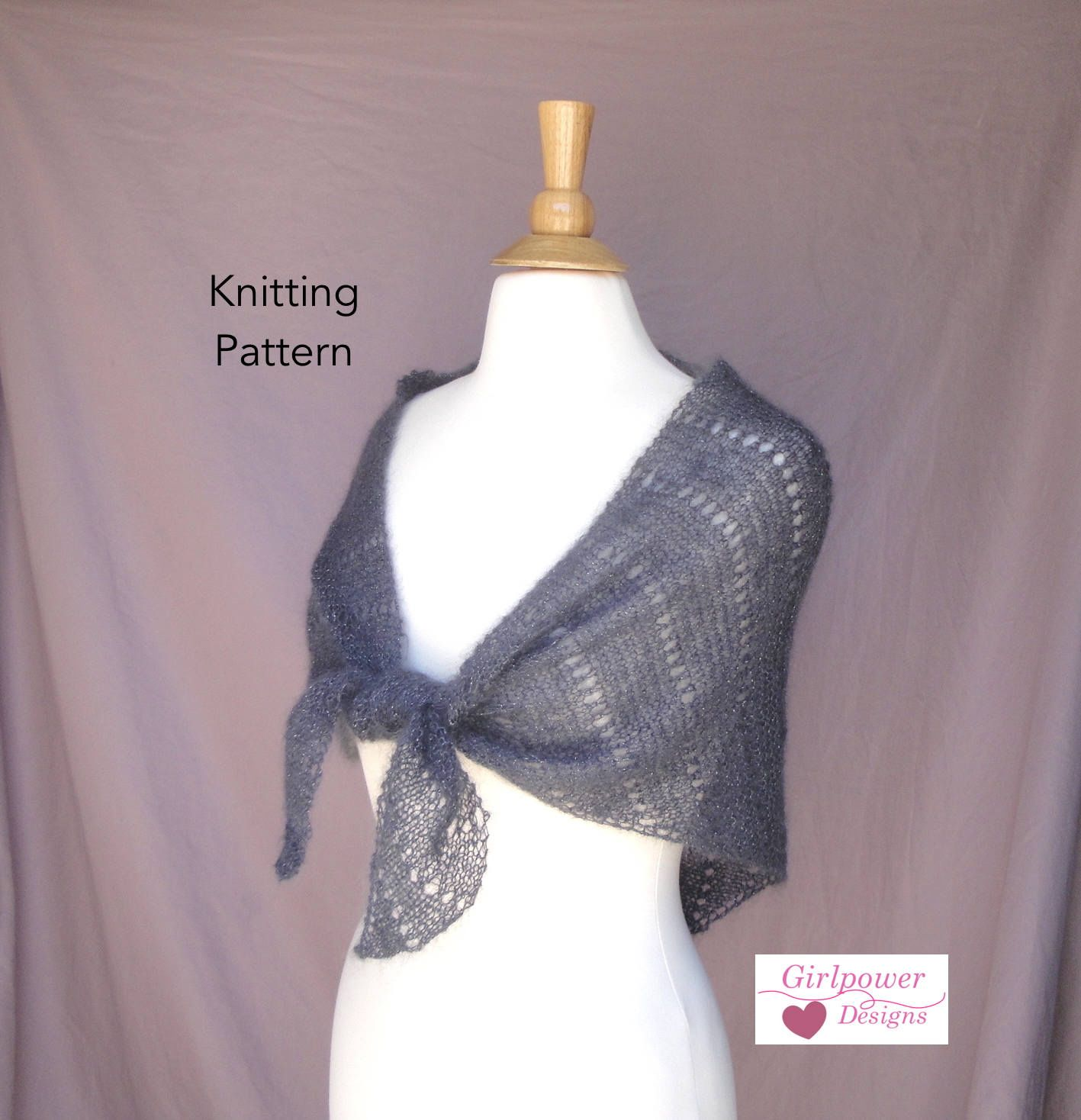 Easy Lace Shawl Knitting Pattern, Eyelet Rows Garter Stitch, Lace ...