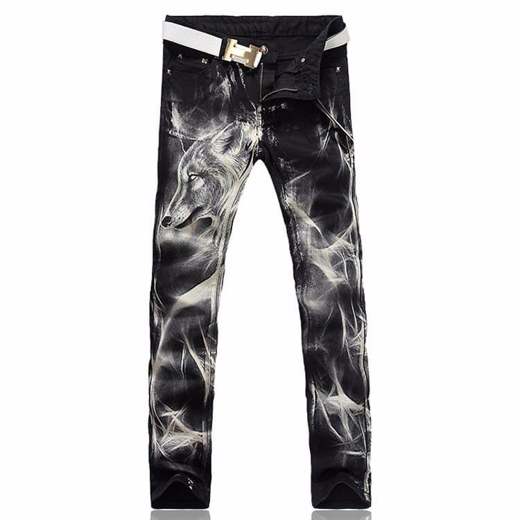 Slim straight Black wolf printed stretch jeans via JQ online store. Click on the image to see more!