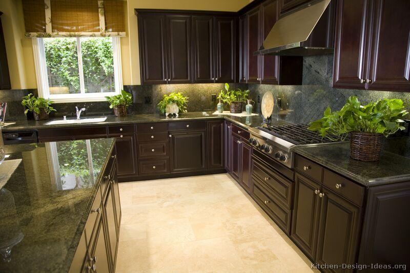 Traditional Dark Wood Black Espresso Kitchen Cabinets