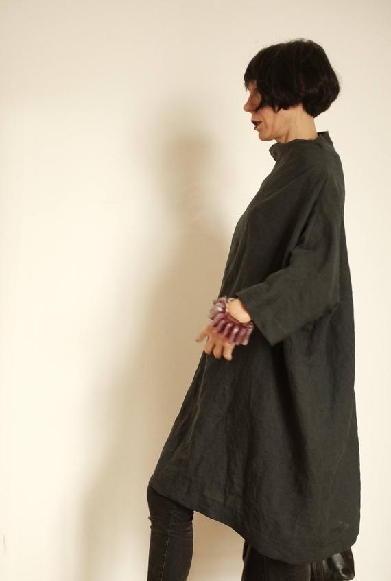 Photo of Abito in lino – Abbigliamento taglie forti – Tunica in lino – Abbigliamento donna in lino – Tunica antracite – Abito XXL – Abbigliamento donna 3X – Camicia oversize