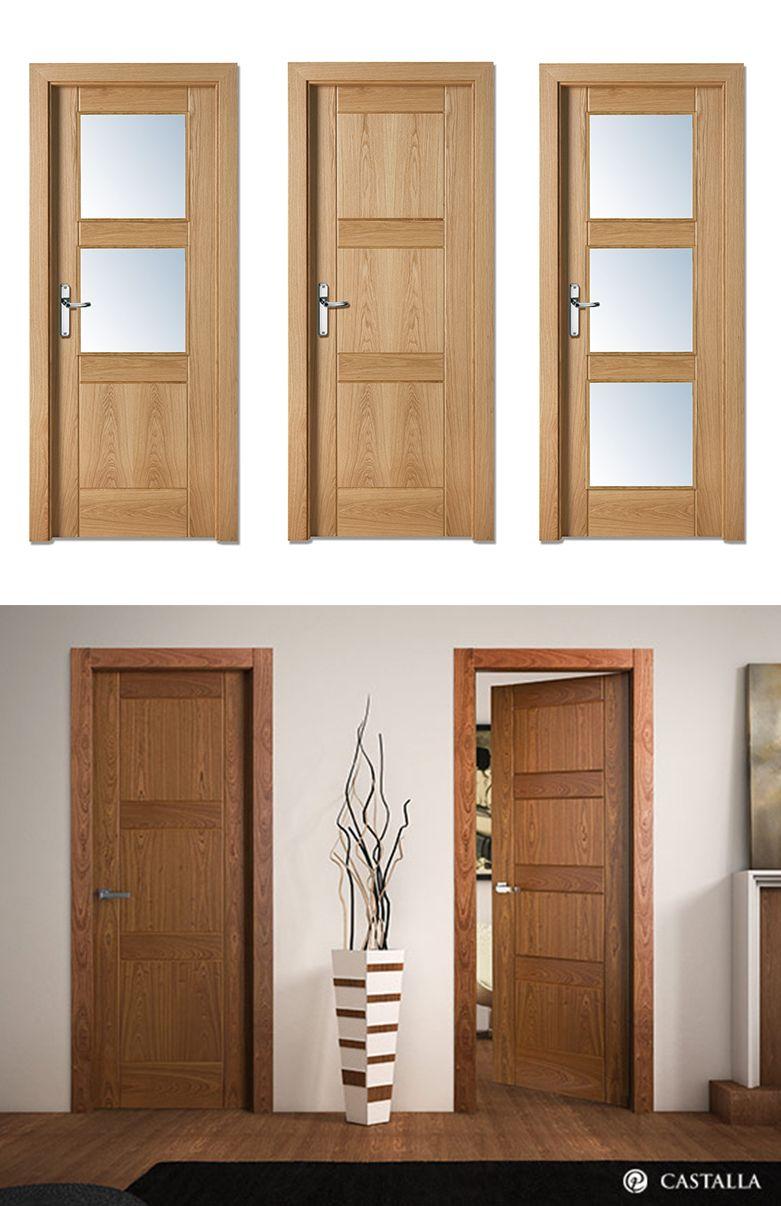 Puerta de interior madera clara puertas castalla puerta for Modelos de puertas de madera para interiores