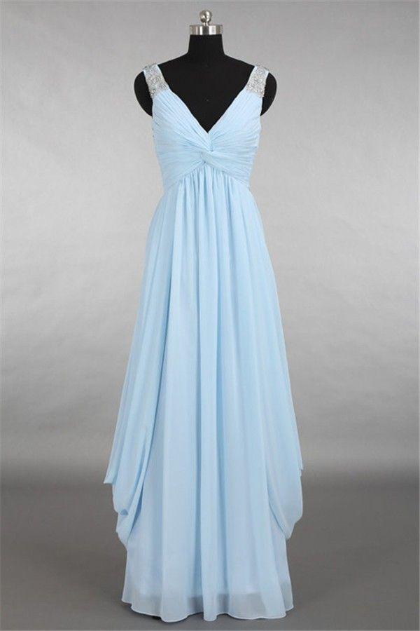 f642ba20fa97 Graceful Sheath V Neck Long Light Blue Chiffon Draped Prom Dress With Straps