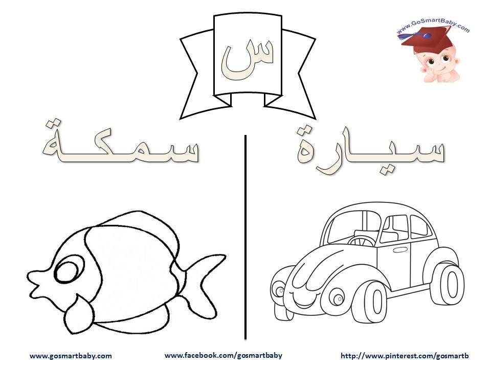 تلوين الحروف العربية حرف السين س Learn Arabic Alphabet Arabic Alphabet Lettering Alphabet
