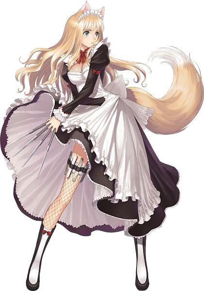 anime neko fighting demon maid blonde animemanga