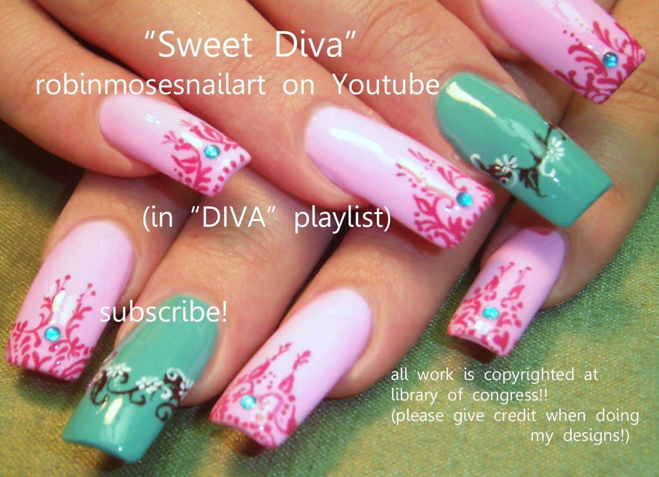 Nail-art by Robin Moses SWEET diva http://www.youtube.com/watch?v ...