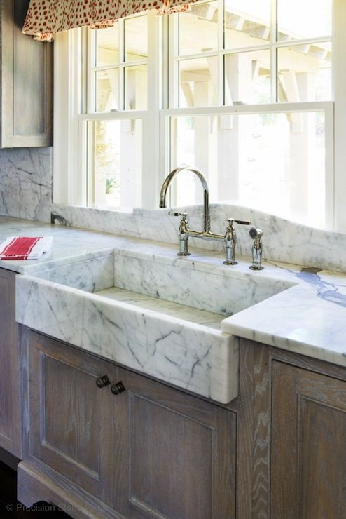 Superbe Precision Stoneworks   Fantastic Kitchen With Wire Brushed Oak Cabinets,  Marble Apron U2026 GREAT SHALLOW SINK