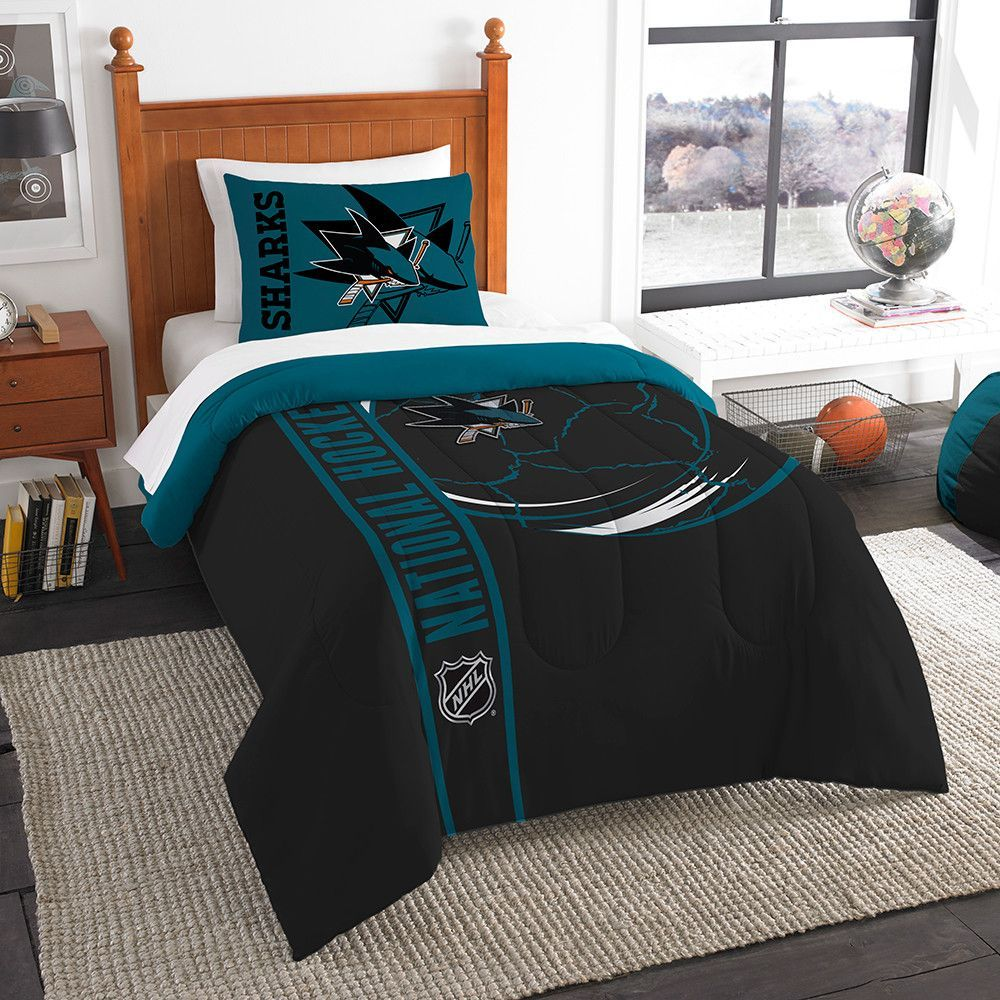 San Jose Sharks NHL Twin Comforter Set Soft & Cozy 64 x 86