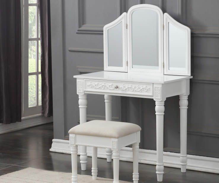 White Vanity Set With Trifold Mirror At Big Lots