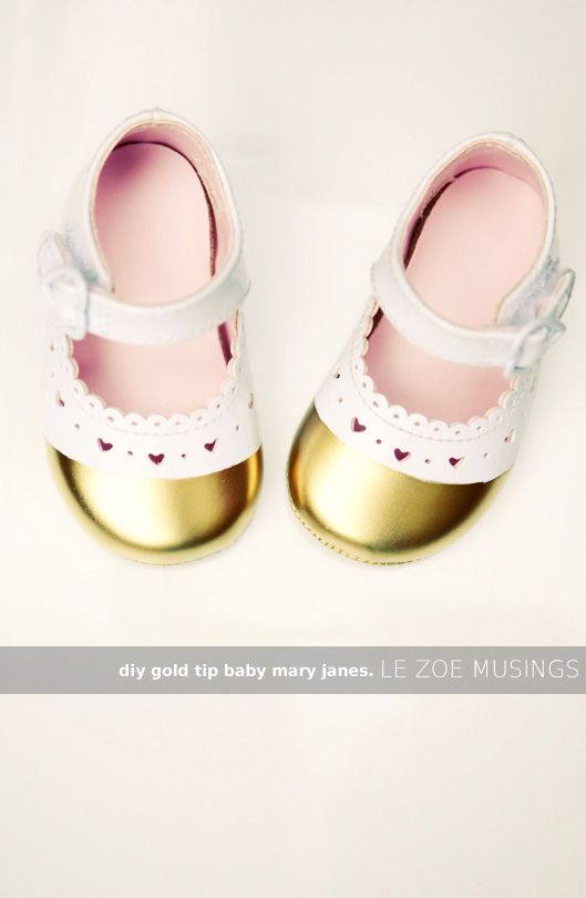 diy gold tipped baby mary janes