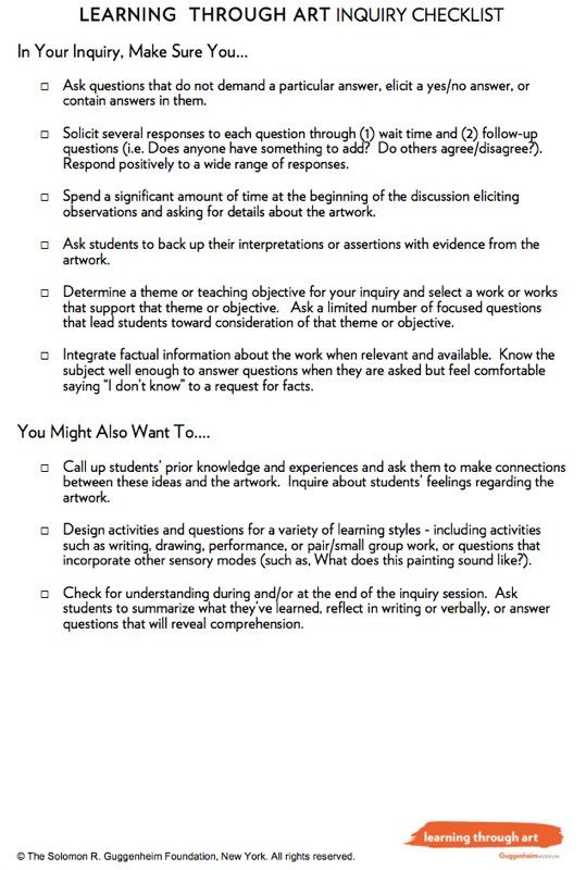 Inquiry Checklist For Learning Through Art  Visual Culture