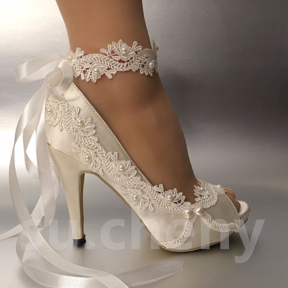 Su Cheny 3 4 Heel Satin White Ivory Lace Ribbon Open Toe Wedding Bridal Shoes Wedding Shoes Lace Italian Wedding Shoes Shoe Laces