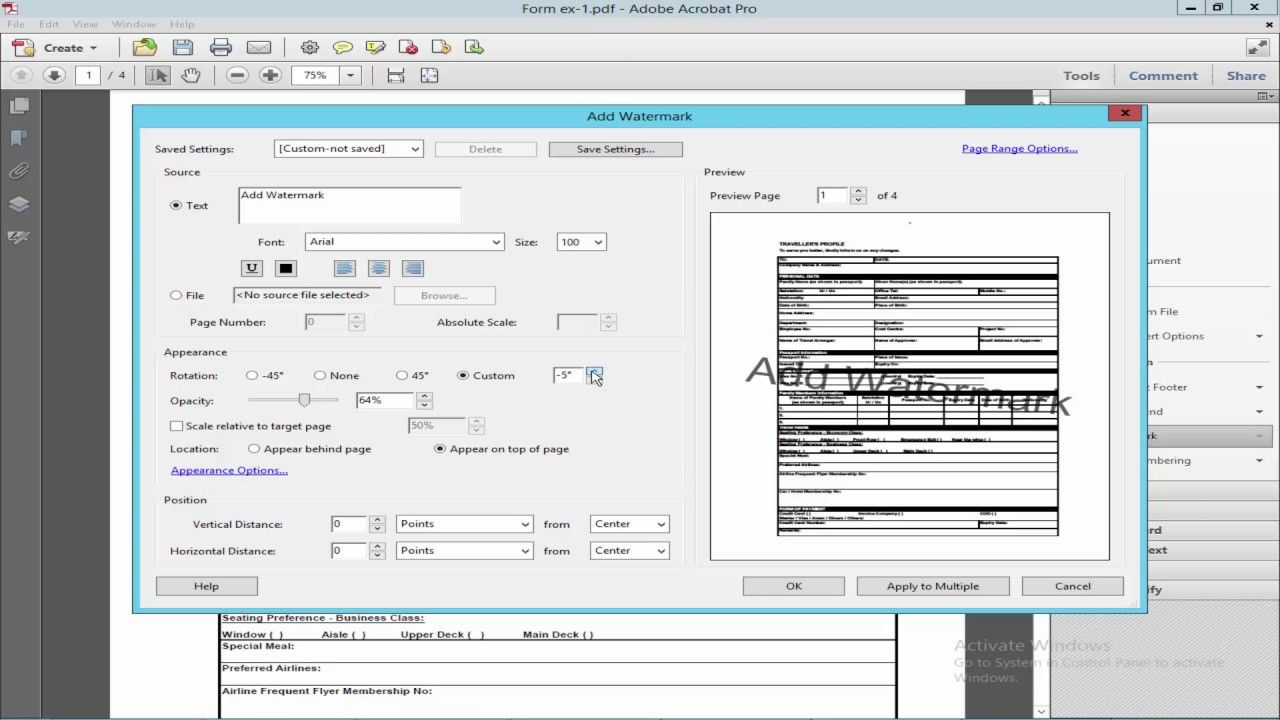 How To Add Watermark In Pdf Form Using Adobe Acrobat Live Cycle
