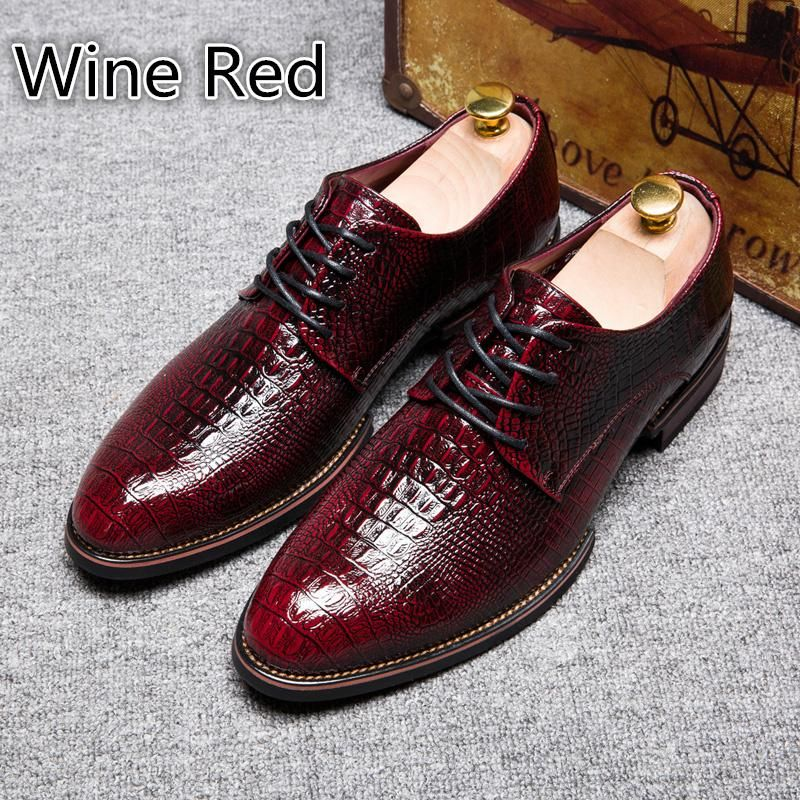 Imitation Crocodile Skin Vintage Design Mens Casual Leather Shoes Men Dress Leather Shoesblack Brown Wine Red Bronze Womens Shoes Shoes For Women From Zhongcl88 Mens Casual Leather Shoes Casual Leather Shoes Leather Shoes Men