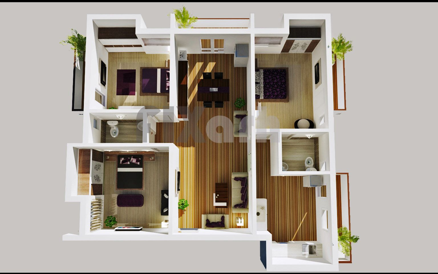 Modern home plan large terrace single story google for 2 story 2 bedroom apartment plans