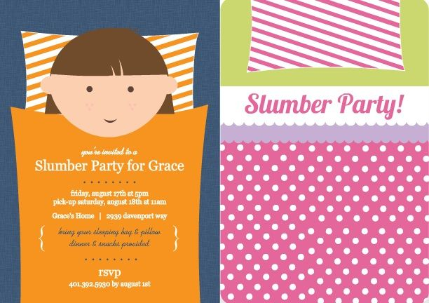 A sleepover party is one of the best kinds of parties to be invited - fresh birthday party invitation designs