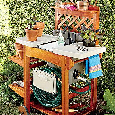 Outdoor Garden Sink + wooden stand | Garden sink, Outdoor ... on Outdoor Sink With Stand id=26786