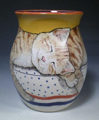 Sleeping Kitty Vase by Nan Hamilton