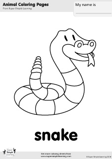 Free Snake Coloring Page From Super Simple Learning Tons Of Animal Worksheets And Flashcards