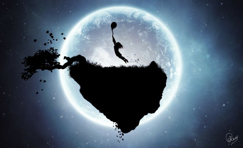 Outer Space Trees Moon Silhouette Surreal Fantasy Art Floating Island Jpg 800 488 Moon Silhouette Outer Space Art Silhouette Art