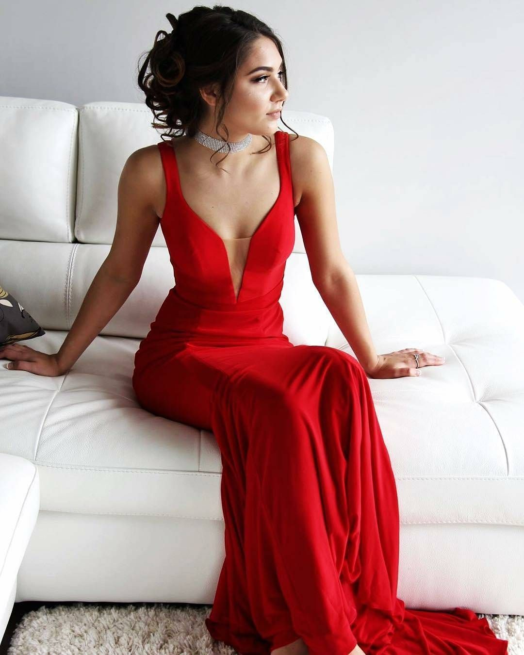 Simply long prom dress red prom dress mermaid prom dress wedding