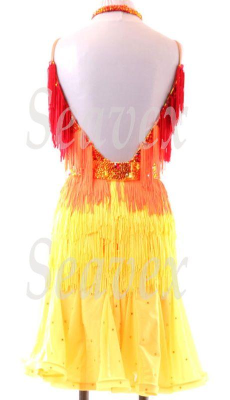 Women Latin Rhythm Competition Dance Dress US 8 UK 10 Red Orange Yellow Fringe