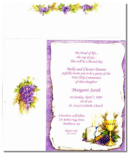 Communion Setting Confirmation and First Holy Communion – Holy Communion Invitation Card