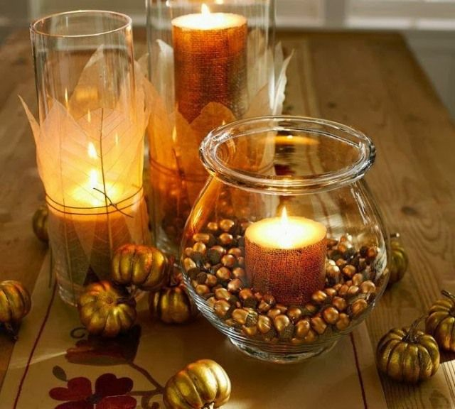 herbst windlichter dekorieren ideen goldene eicheln bl tter deko. Black Bedroom Furniture Sets. Home Design Ideas