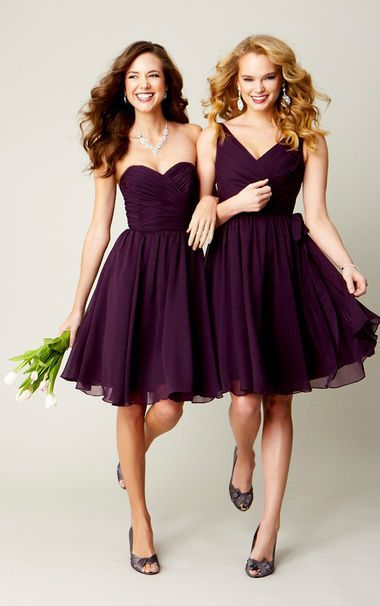 2016 Simple Purple Ruffle Chiffon Column Short Bridesmaid Dresses ...