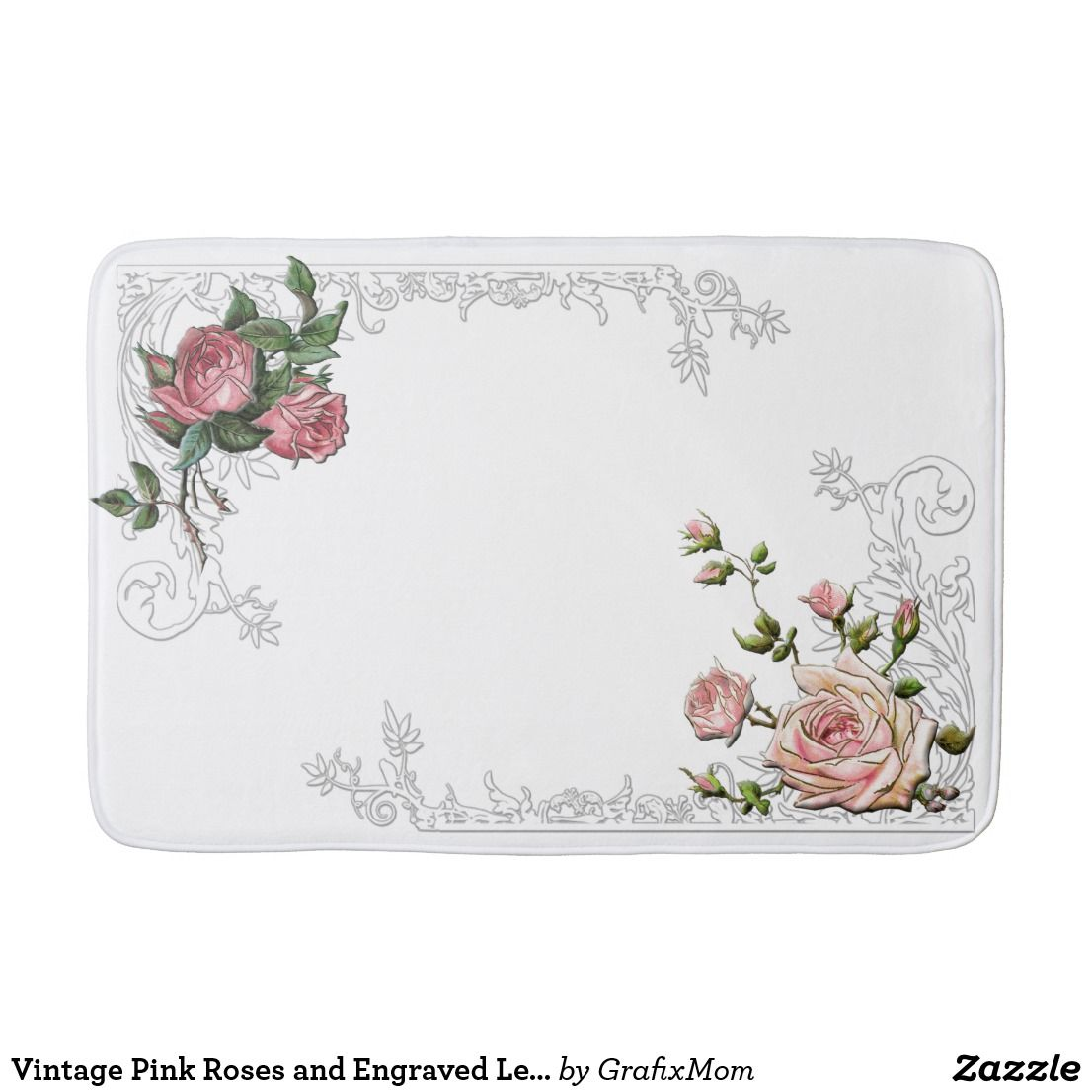 Vintage Pink Roses And Engraved Leafy Border Bathroom Mat Rugats