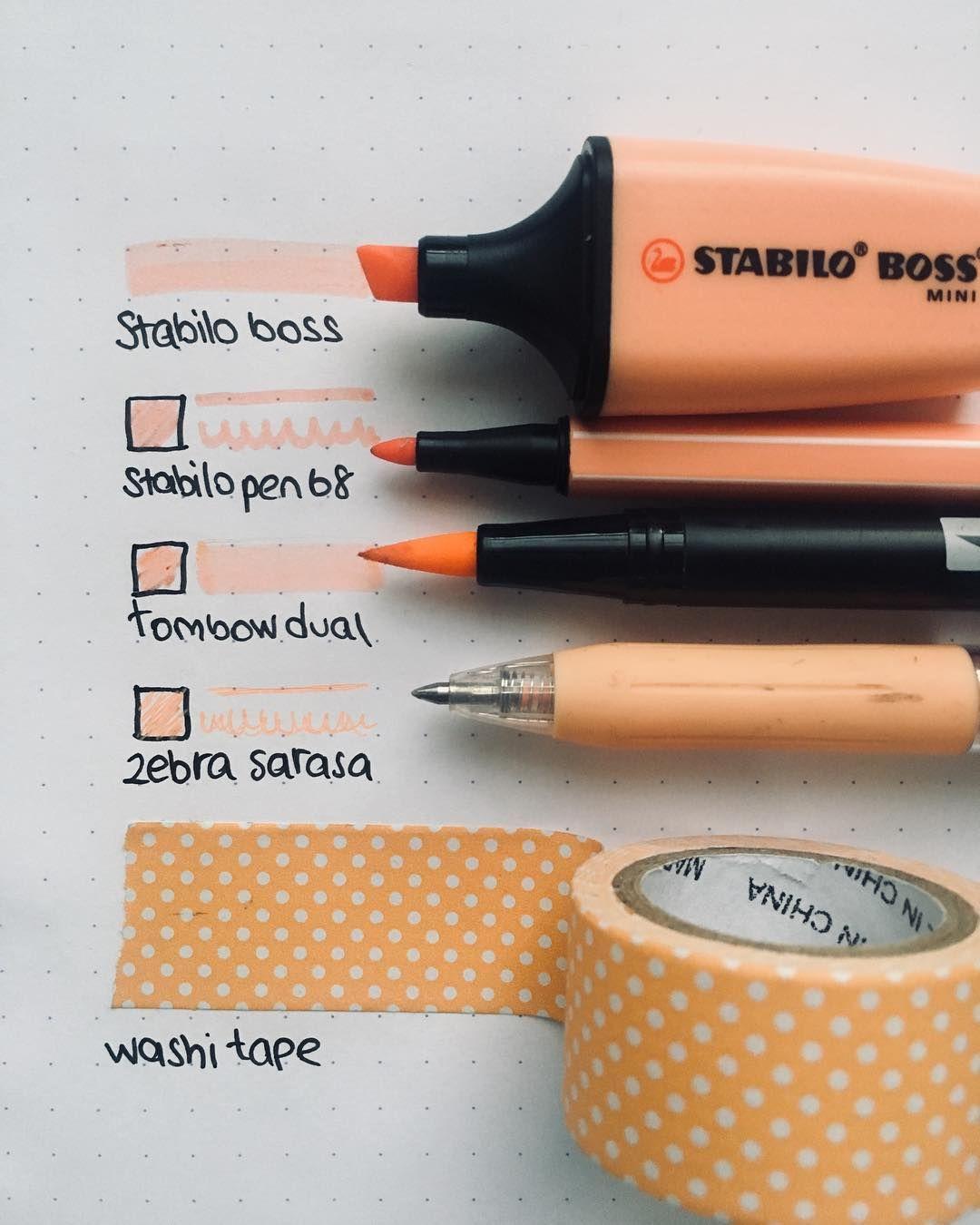 Apricot Pen Paper Stationery Stabilo Washi Tape Washitape