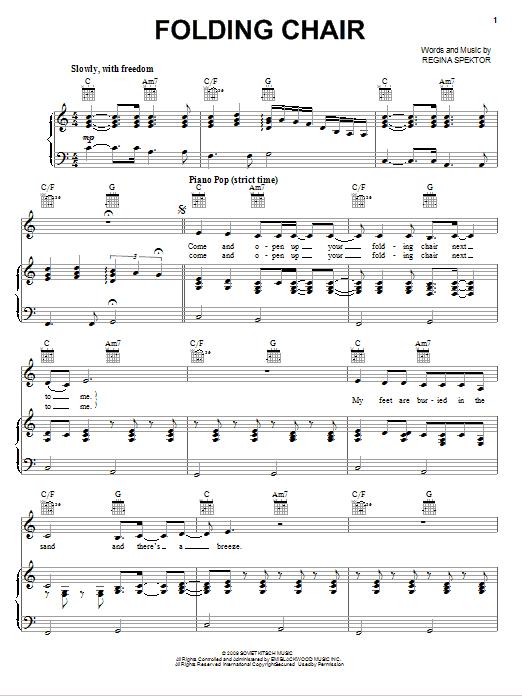 Folding Chair By Regina Spektor Piano Vocal Guitar Right Hand