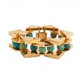 Lele Sadoughi Turquoise Stone Satellite Bracelet - Yellow Gold Bracelet - ShopBAZAAR