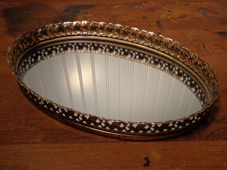 Vintage oval vanity mirror tray gold perfume mirror tray