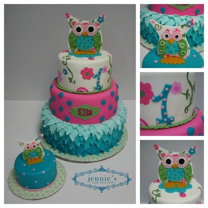 Adorable owls adorn this sweet 1st birthday cake for Ella Maddy