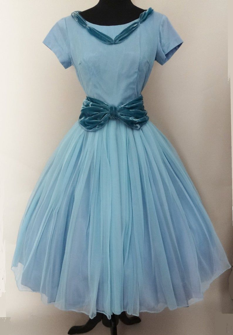 Vintage 14s Dress 14s Blue Chiffon Dress Aqua Velvet image 14